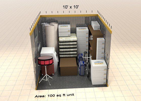 100sqft storage unit including bike and drum