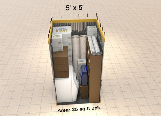 25sqft storage unit including suitcase and boxes