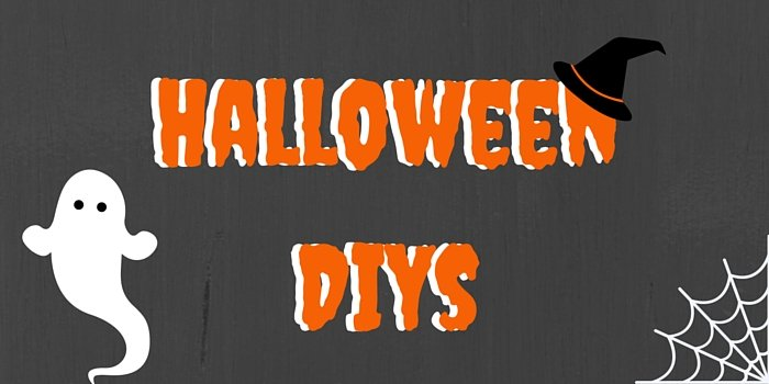 halloween diys blog header image with ghost