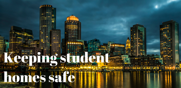 keeping student homes safe blog header image with city scape