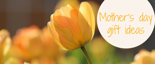 mother's day gift ideas blog header image with tulip