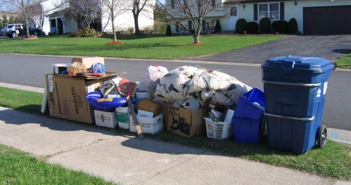 spring clean waste on pavement
