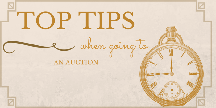 top tips when going to auction image with clock