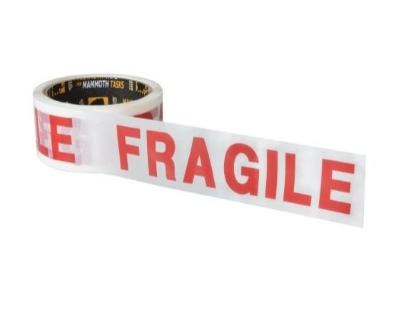 packing tape with red fragile writing