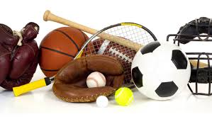 sporting equipment including tennis racket and football